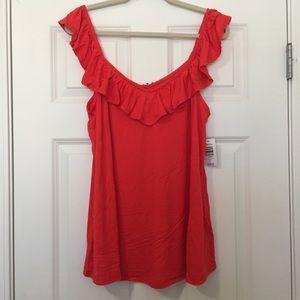 New Size 1 Torrid Coral Orange Ruffle Tank Shirt